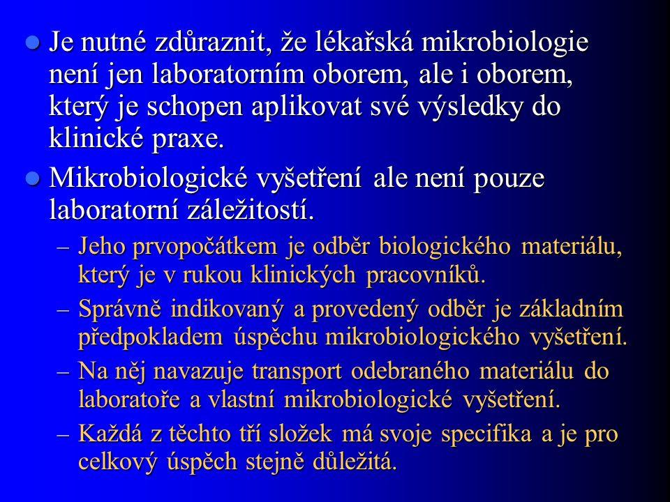 Mikrobiologické vyšetření ale není pouze laboratorní záležitostí.