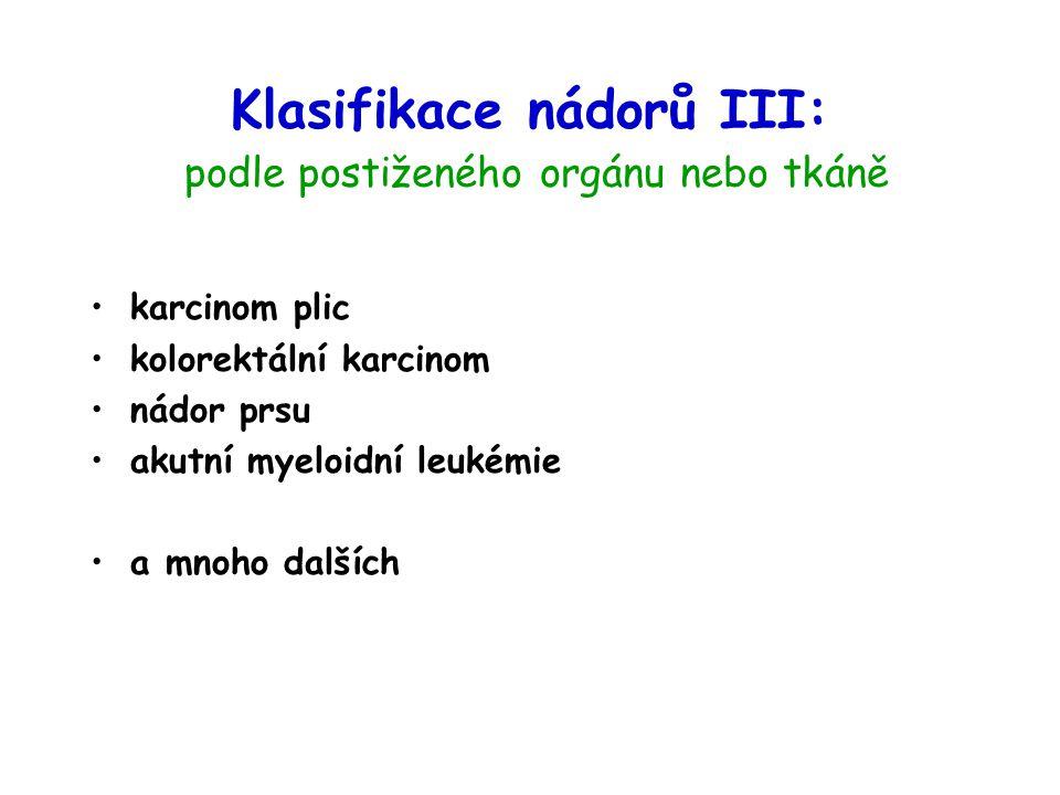 Klasifikace nádorů III: podle postiženého orgánu nebo tkáně
