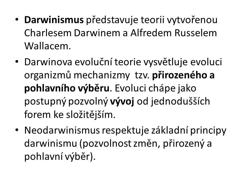Darwinismus představuje teorii vytvořenou Charlesem Darwinem a Alfredem Russelem Wallacem.