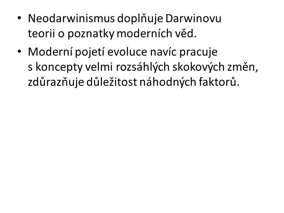 Neodarwinismus doplňuje Darwinovu teorii o poznatky moderních věd.