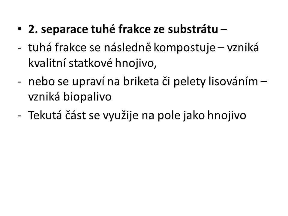 2. separace tuhé frakce ze substrátu –