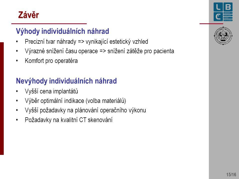 Závěr Výhody individuálních náhrad Nevýhody individuálních náhrad