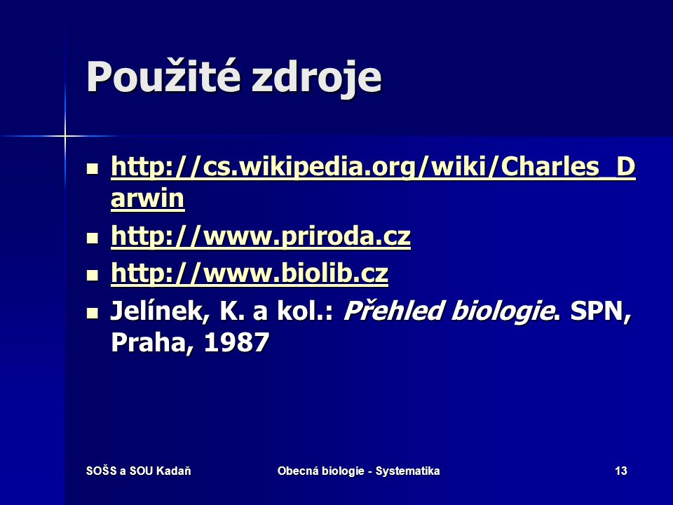 Obecná biologie - Systematika