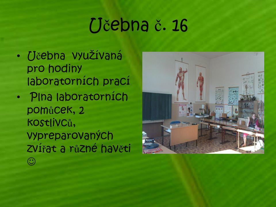Učebna č. 16 Učebna využívaná pro hodiny laboratorních prací