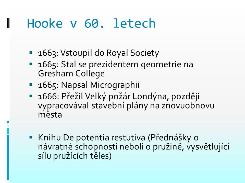 Hooke v 60. letech 1663: Vstoupil do Royal Society