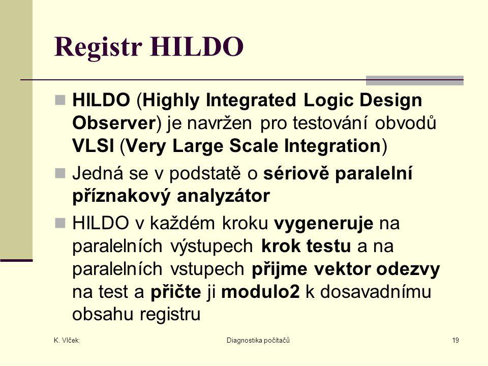 Registr HILDO HILDO (Highly Integrated Logic Design Observer) je navržen pro testování obvodů VLSI (Very Large Scale Integration)