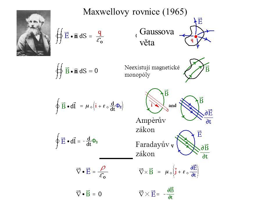 Maxwellovy rovnice (1965) Gaussova věta Ampèrův zákon Faradayův zákon