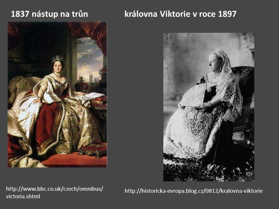 1837 nástup na trůn královna Viktorie v roce 1897
