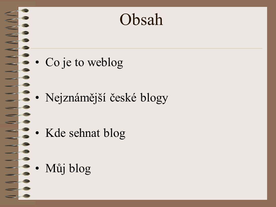Obsah Co je to weblog Nejznámější české blogy Kde sehnat blog Můj blog