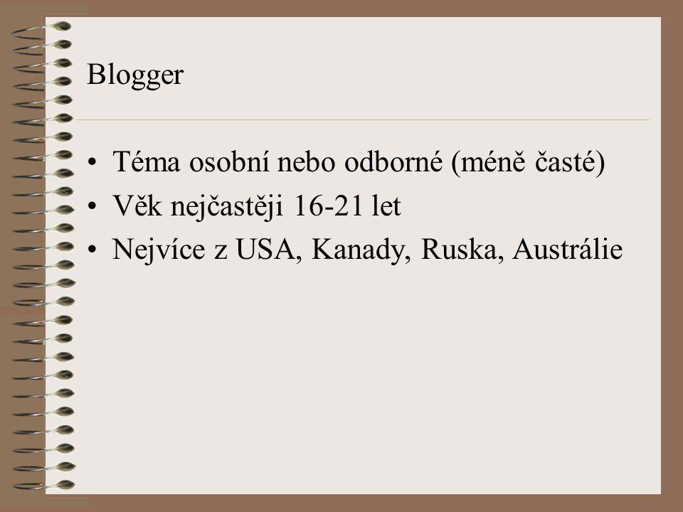 Blogger Téma osobní nebo odborné (méně časté) Věk nejčastěji 16-21 let.