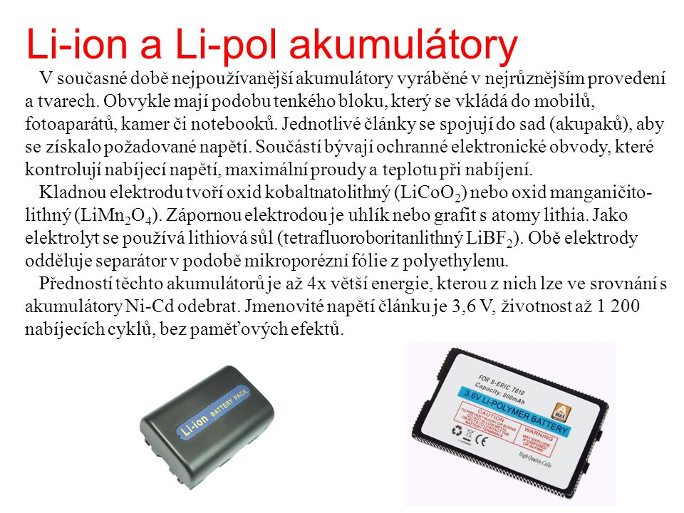Li-ion a Li-pol akumulátory