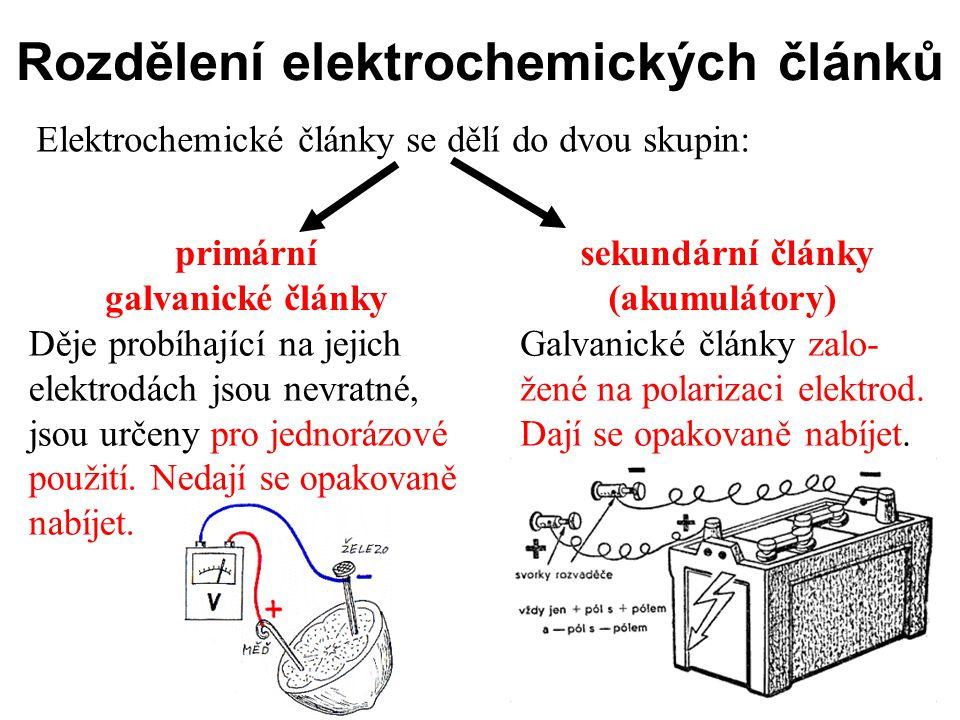 Rozdělení elektrochemických článků