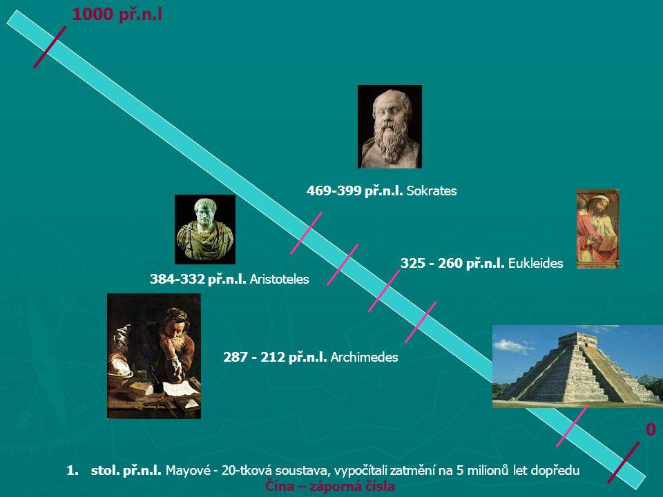 1000 př.n.l 469-399 př.n.l. Sokrates 325 - 260 př.n.l. Eukleides