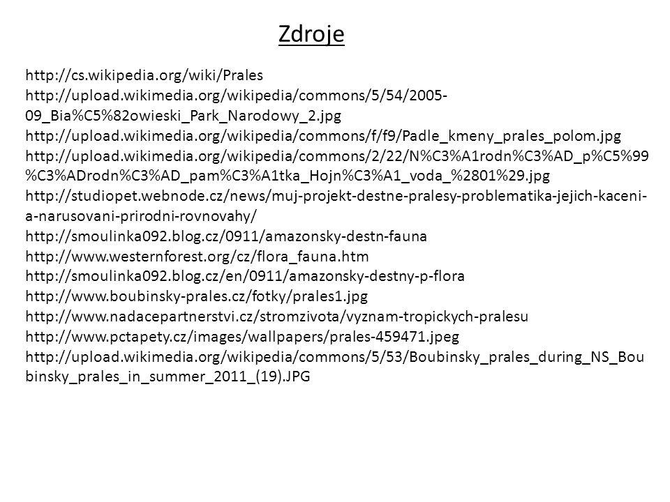 Zdroje http://cs.wikipedia.org/wiki/Prales