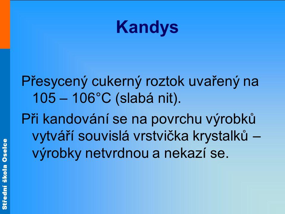 Kandys Přesycený cukerný roztok uvařený na 105 – 106°C (slabá nit).