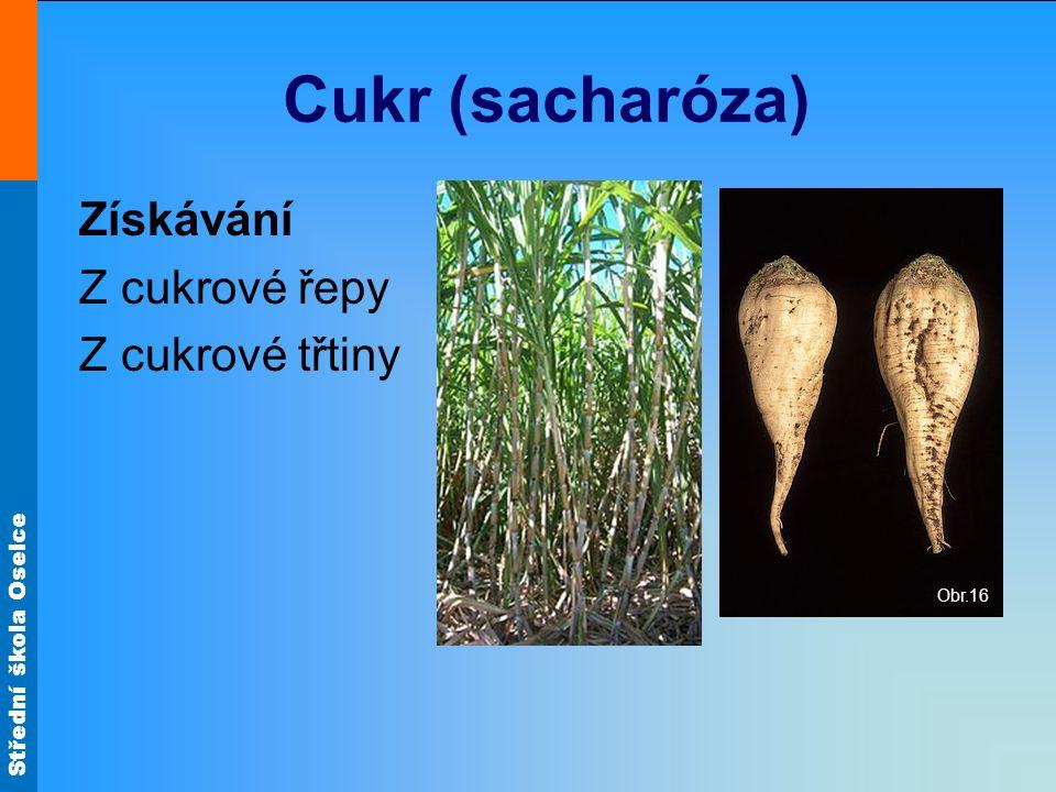 Cukr (sacharóza) Získávání Z cukrové řepy Z cukrové třtiny Obr.16