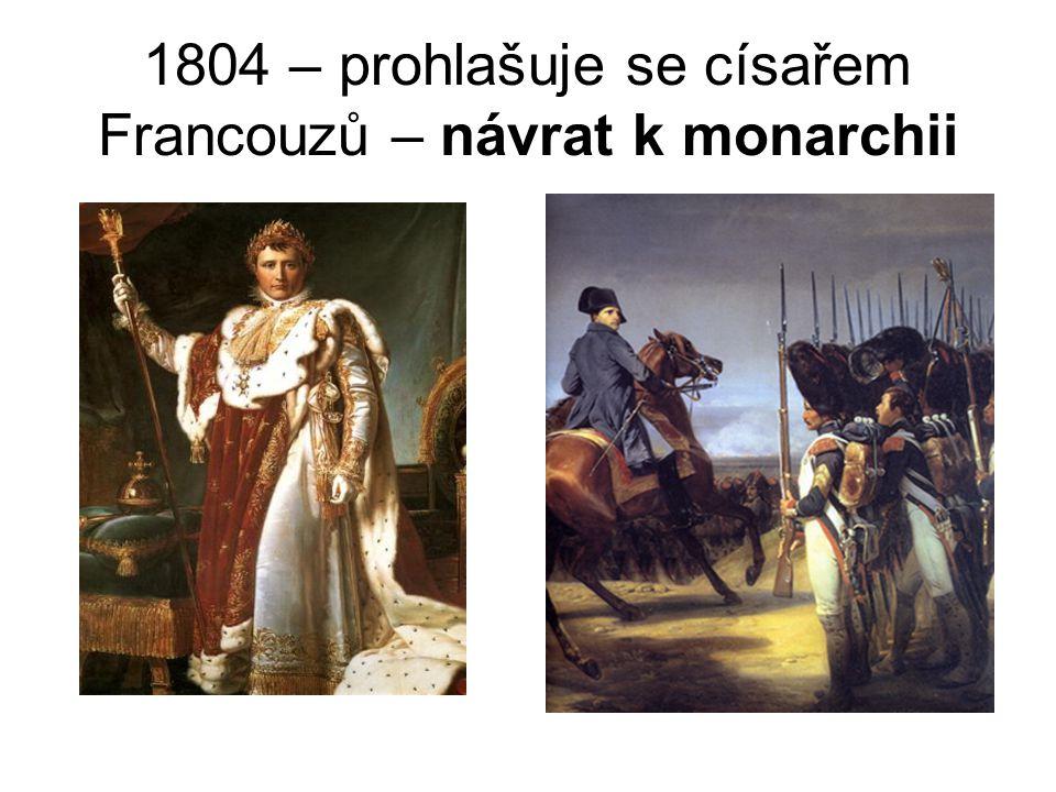 1804 – prohlašuje se císařem Francouzů – návrat k monarchii