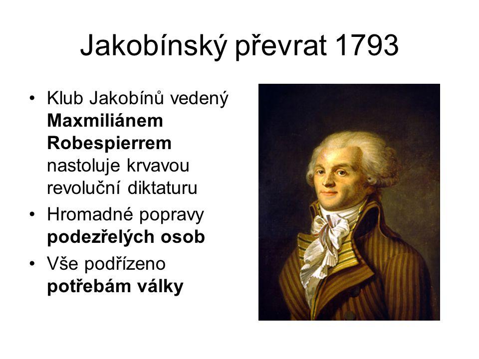 Jakobínský převrat 1793 Klub Jakobínů vedený Maxmiliánem Robespierrem nastoluje krvavou revoluční diktaturu.