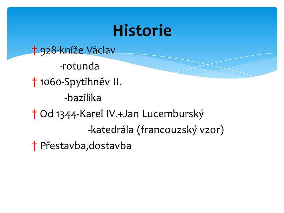 Historie 928-kníže Václav -rotunda 1060-Spytihněv II. -bazilika