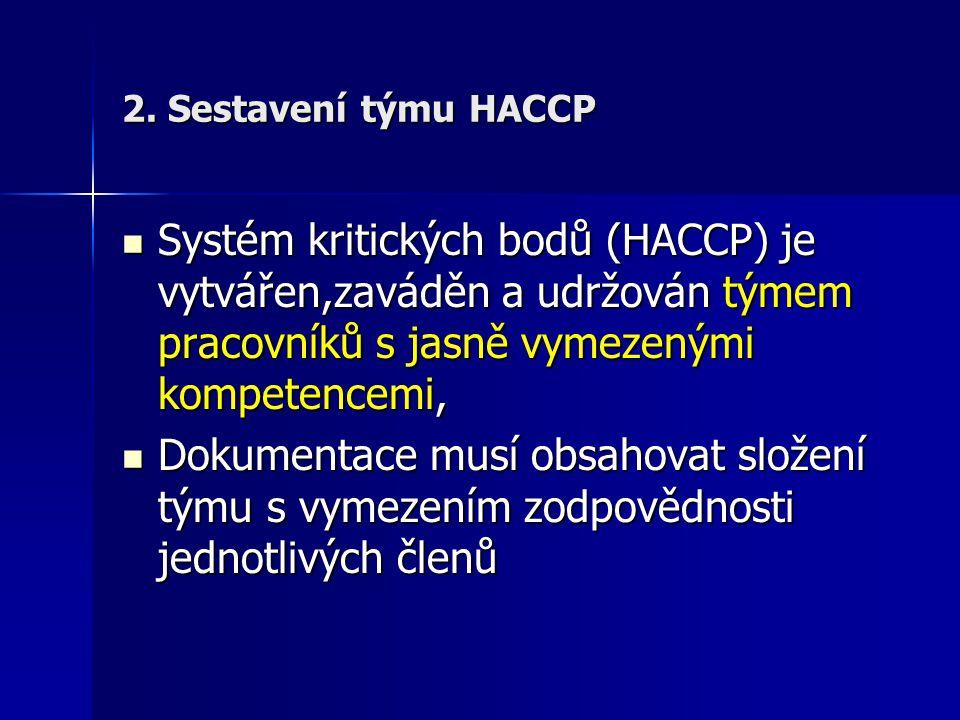 2. Sestavení týmu HACCP Systém kritických bodů (HACCP) je vytvářen,zaváděn a udržován týmem pracovníků s jasně vymezenými kompetencemi,