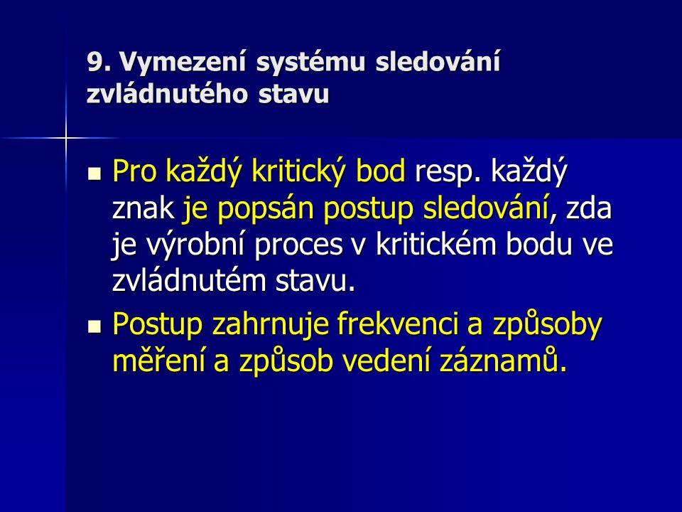 9. Vymezení systému sledování zvládnutého stavu