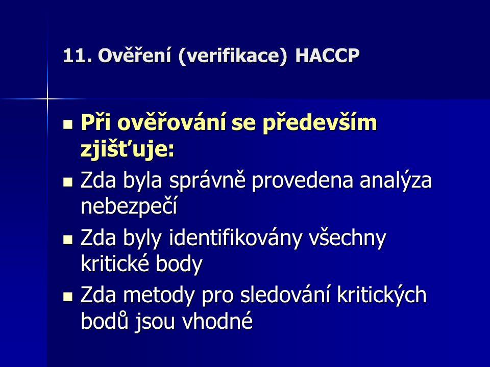 11. Ověření (verifikace) HACCP