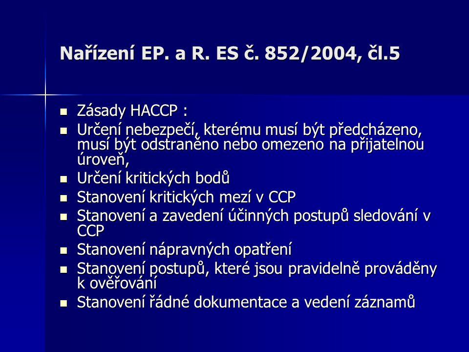 Nařízení EP. a R. ES č. 852/2004, čl.5 Zásady HACCP :