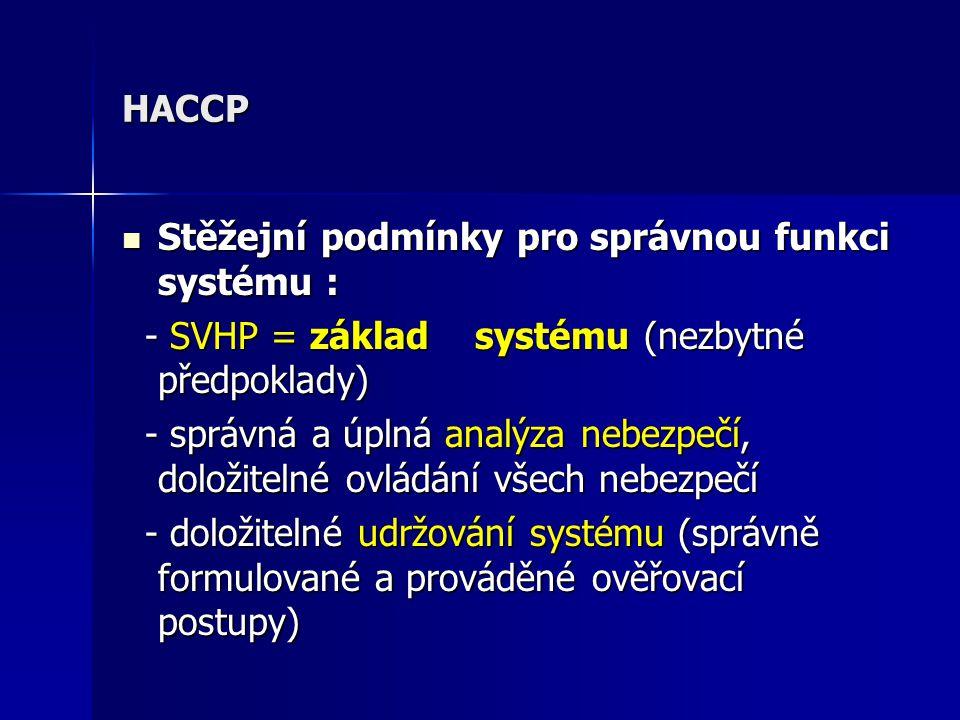 HACCP Stěžejní podmínky pro správnou funkci systému : - SVHP = základ systému (nezbytné předpoklady)