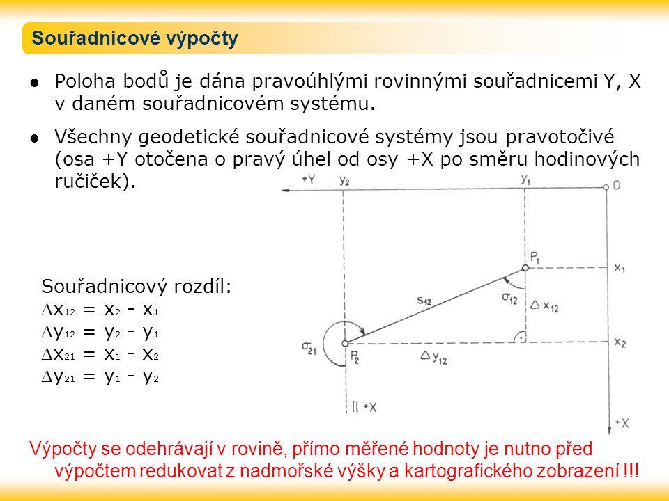 Souřadnicové výpočty Poloha bodů je dána pravoúhlými rovinnými souřadnicemi Y, X v daném souřadnicovém systému.