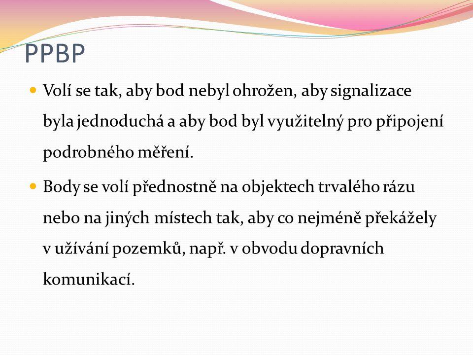 PPBP Volí se tak, aby bod nebyl ohrožen, aby signalizace byla jednoduchá a aby bod byl využitelný pro připojení podrobného měření.