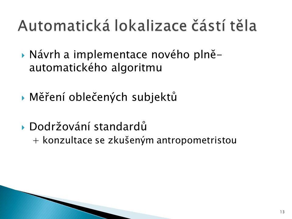 Automatická lokalizace částí těla