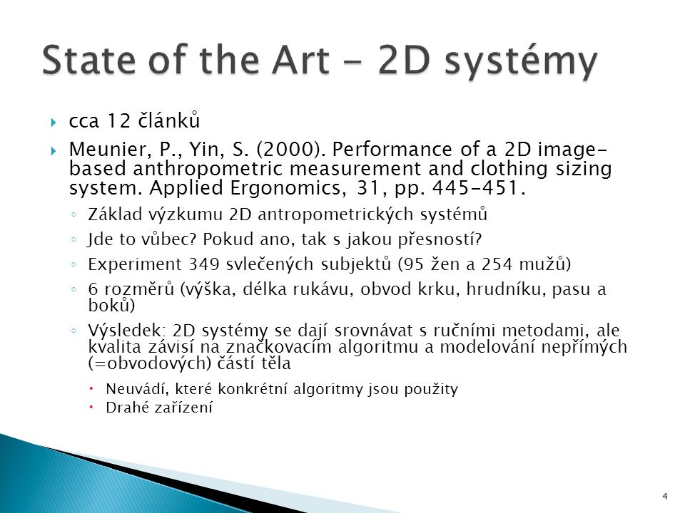 State of the Art - 2D systémy
