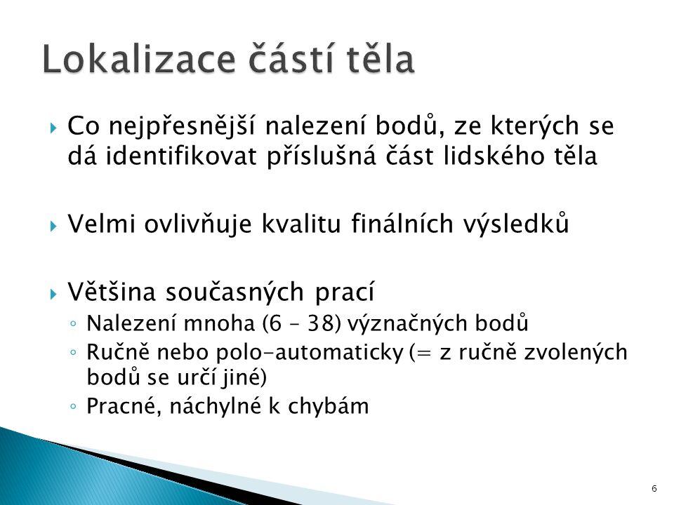 Lokalizace částí těla Co nejpřesnější nalezení bodů, ze kterých se dá identifikovat příslušná část lidského těla.