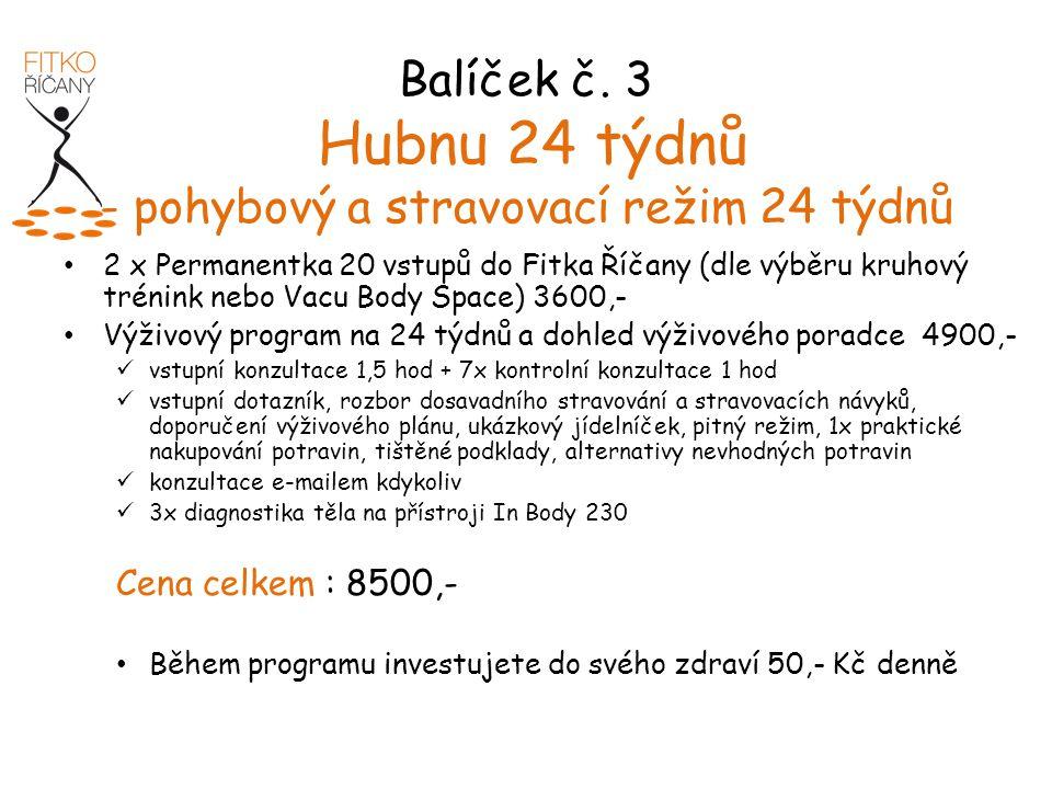 Balíček č. 3 Hubnu 24 týdnů - pohybový a stravovací režim 24 týdnů