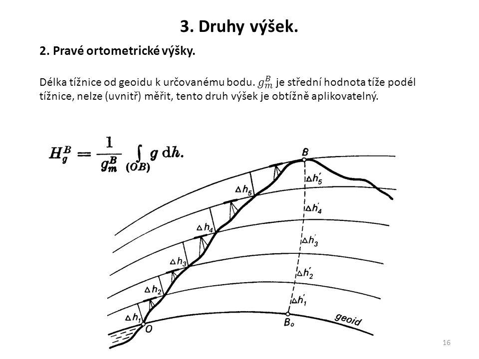 3. Druhy výšek. 2. Pravé ortometrické výšky.
