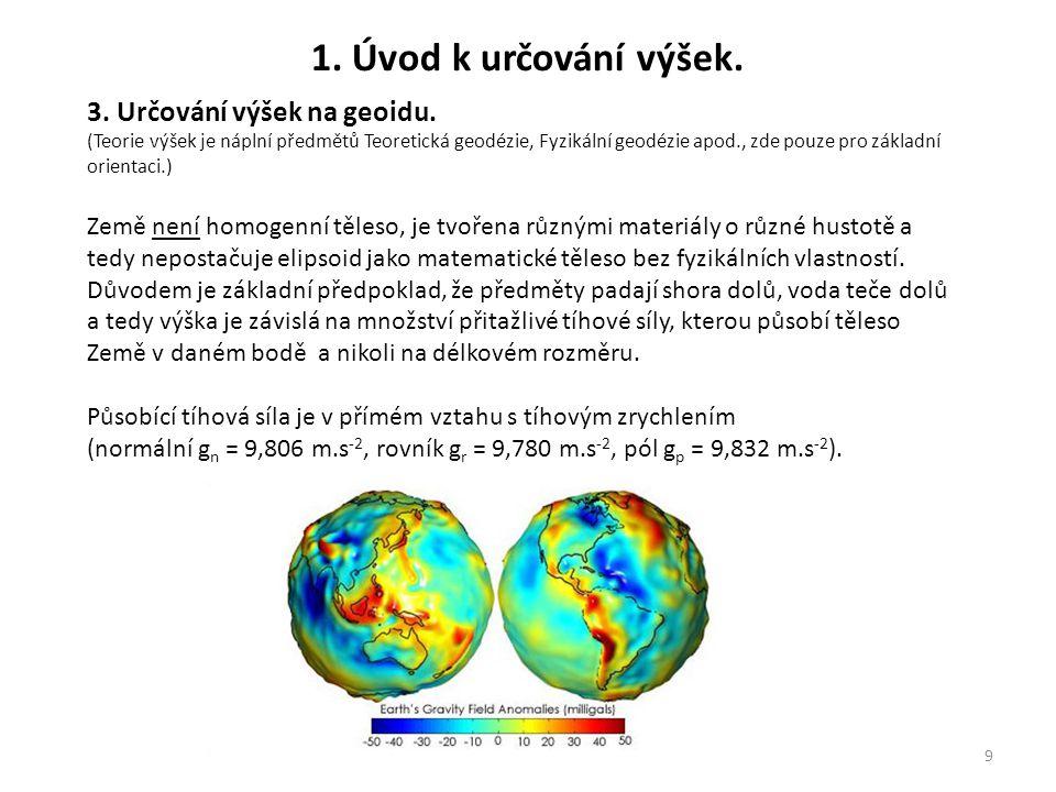 1. Úvod k určování výšek. 3. Určování výšek na geoidu.