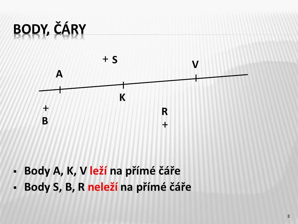 Body, čáry + Body A, K, V leží na přímé čáře