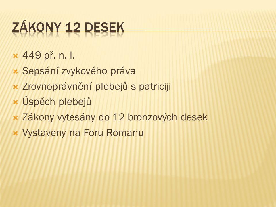 Zákony 12 desek 449 př. n. l. Sepsání zvykového práva