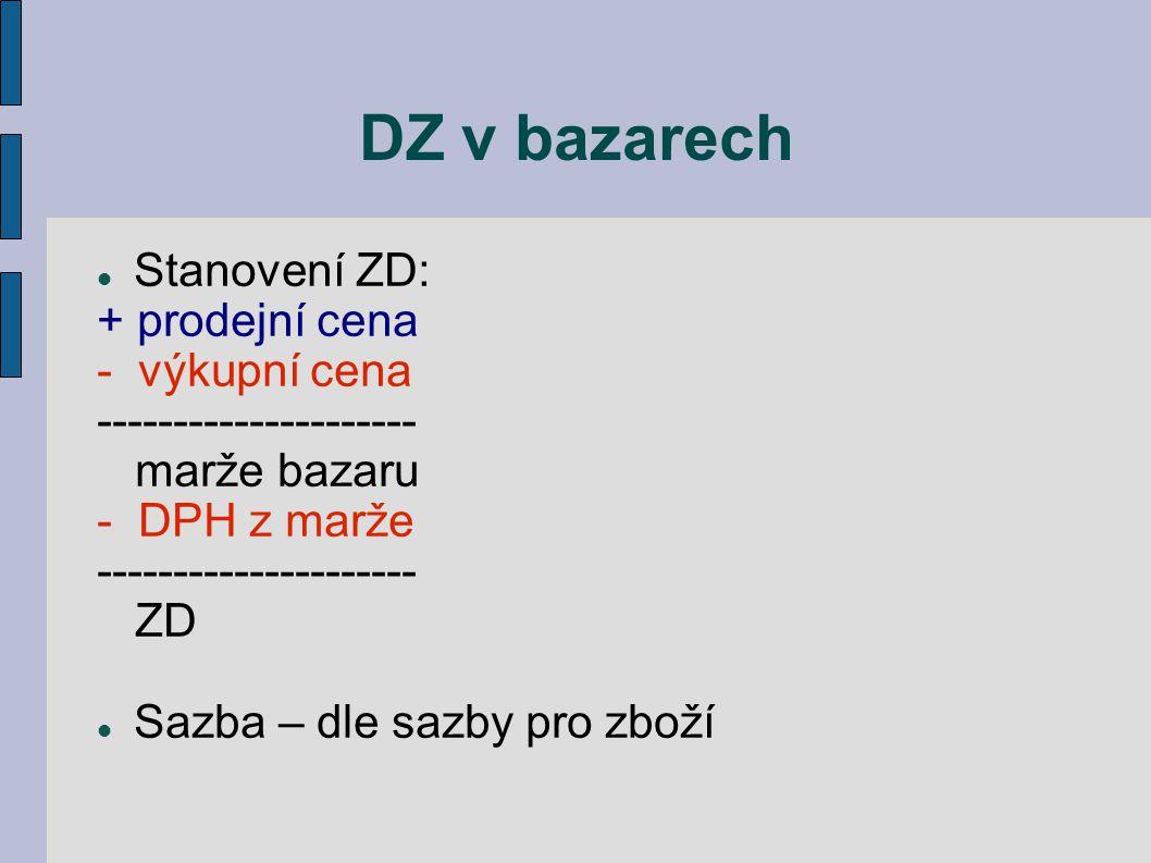 DZ v bazarech Stanovení ZD: + prodejní cena - výkupní cena