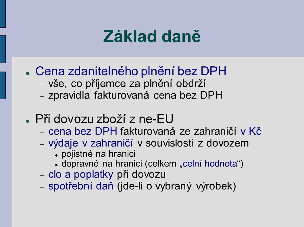 Základ daně Cena zdanitelného plnění bez DPH Při dovozu zboží z ne-EU