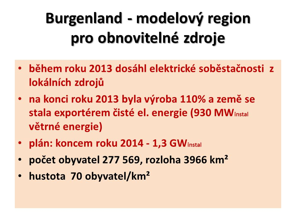 Burgenland - modelový region pro obnovitelné zdroje