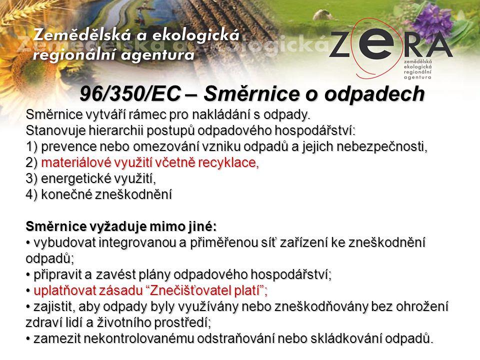 96/350/EC – Směrnice o odpadech