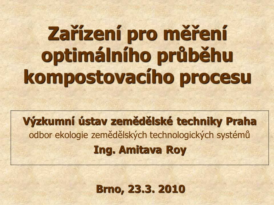 Zařízení pro měření optimálního průběhu kompostovacího procesu