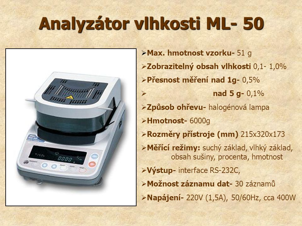 Analyzátor vlhkosti ML- 50