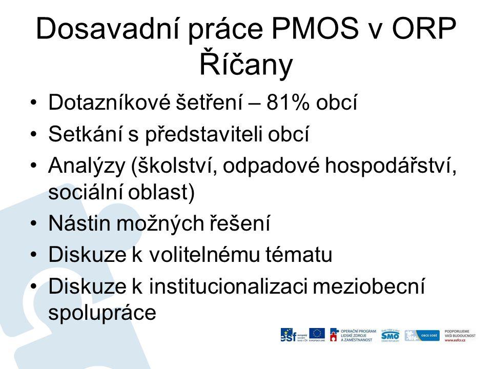 Dosavadní práce PMOS v ORP Říčany