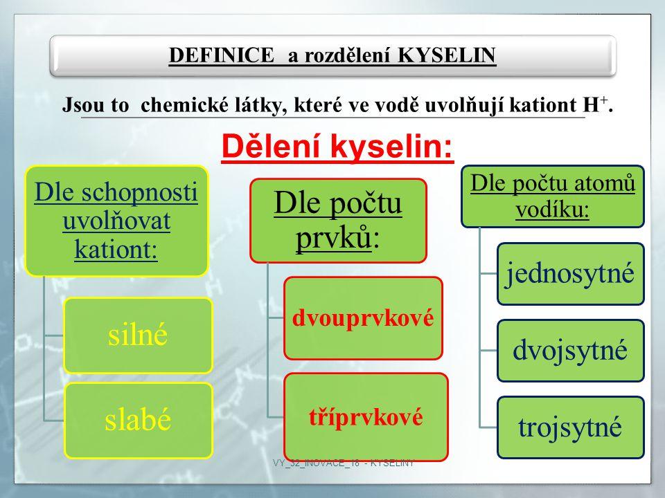 DEFINICE a rozdělení KYSELIN
