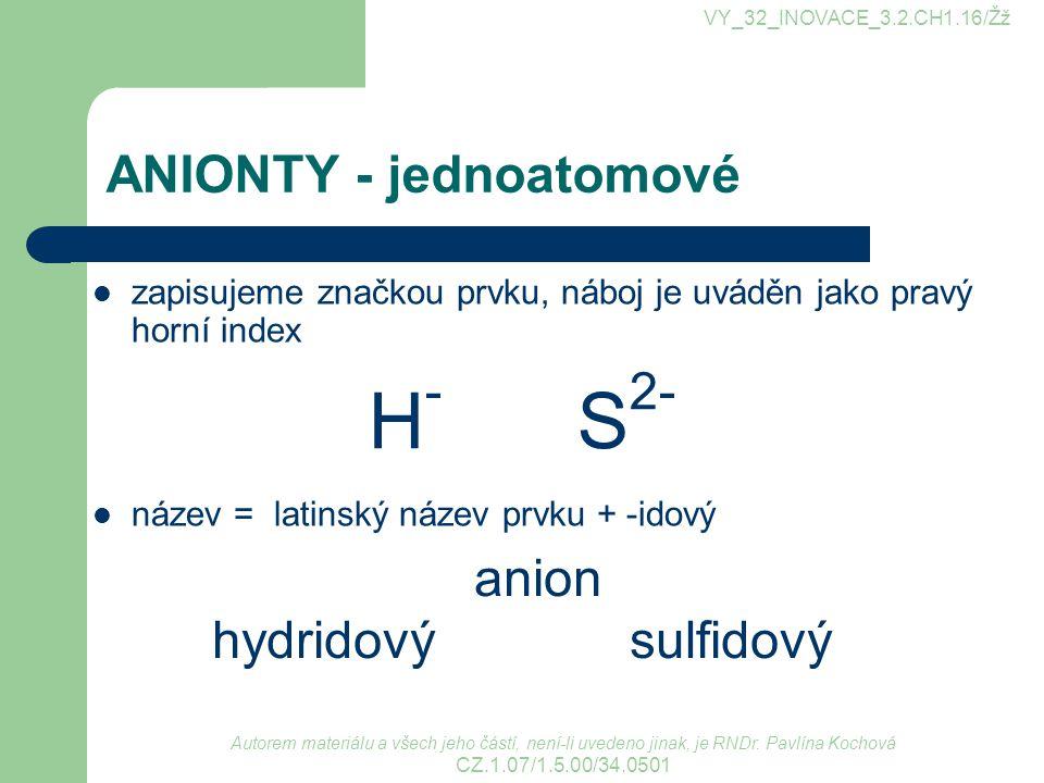 ANIONTY - jednoatomové