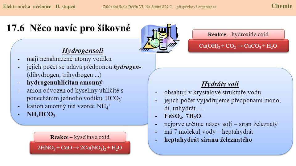17.6 Něco navíc pro šikovné Hydrogensoli Hydráty solí