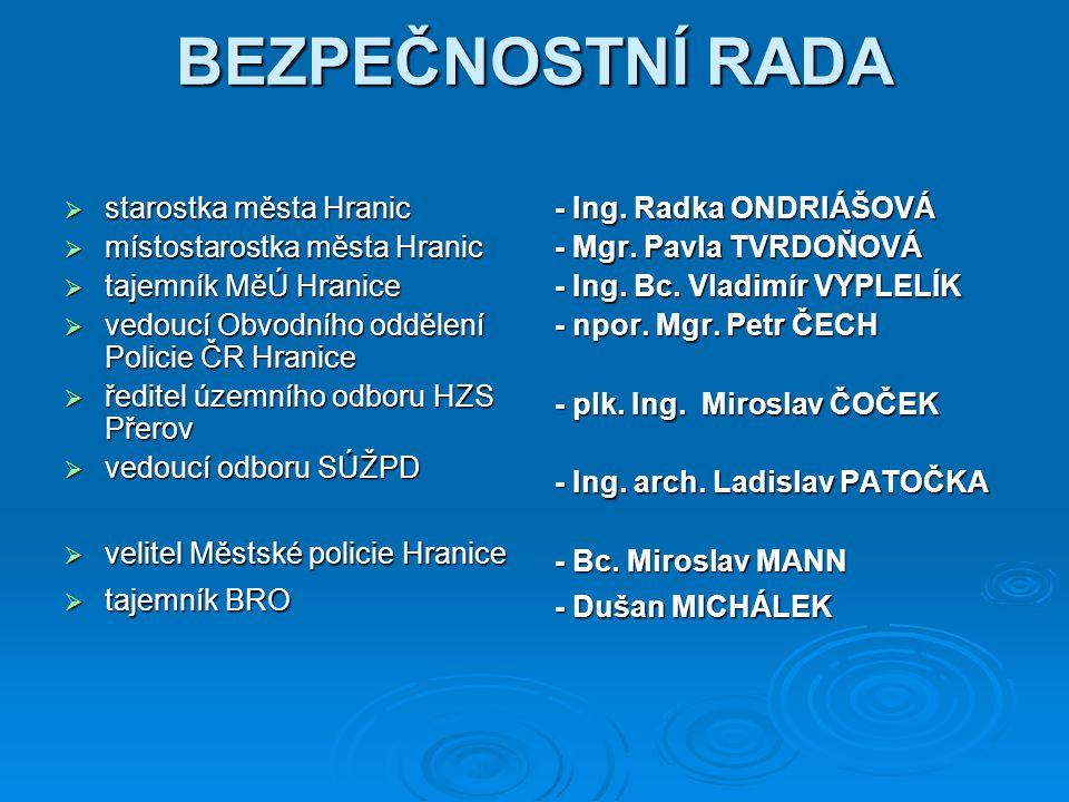 BEZPEČNOSTNÍ RADA starostka města Hranic místostarostka města Hranic