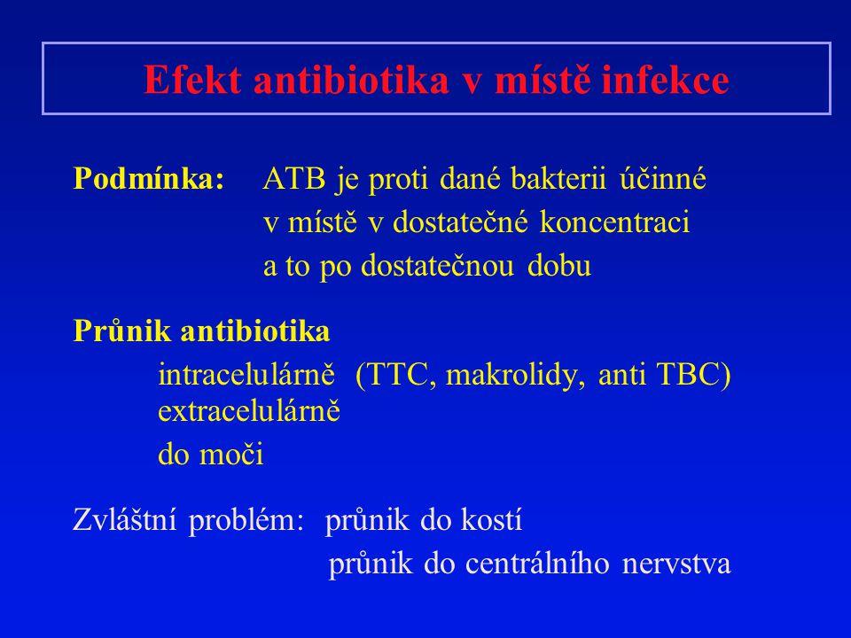 Efekt antibiotika v místě infekce
